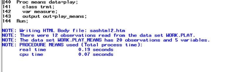 Proc MEANS log window